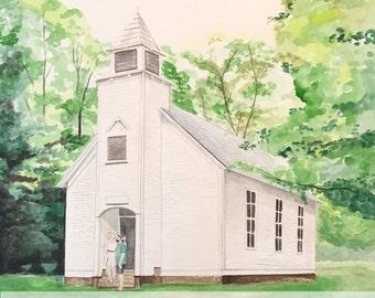 Watercolor church portrait | Custom watercolor church portrait | Custom church painting | Church Painting | Wedding Church portrait