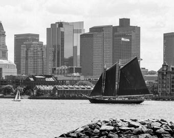 Boston Harbor in Black and White - Fine Art Metallic Print