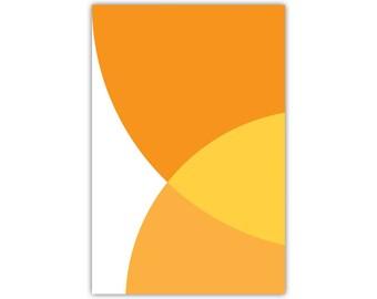 Abstract Art, Orange Print, Large Canvas, Minimalist, Modern Wall Decor, Circles, Retro