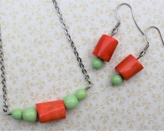 Coral and mint necklace and earring set, spring jewelry, colorful jewelry, coral and mint, jewelry set, bamboo, mint beads, silver