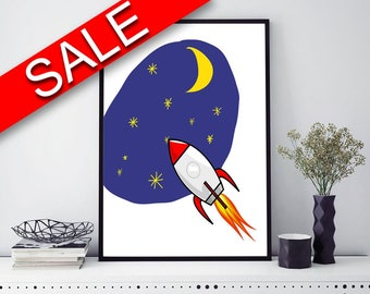 Wall Decor Space Printable Rocket Prints Space Sign Rocket Nursery Art Rocket Nursery Print Space Printable Art Space stars