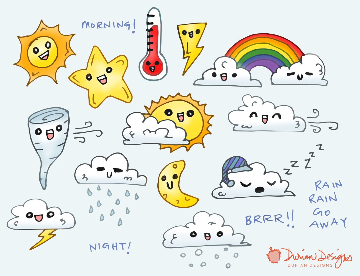 Cute Weather Clipart Commercial Use on Weather Forecast Symbols