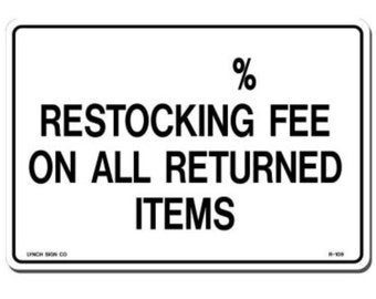 Sweatshirt Restocking Fee Shipping and Replacement item.