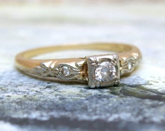 Art Deco Diamond Ring, Diamond Engagement Ring , Vintage Engagement Ring