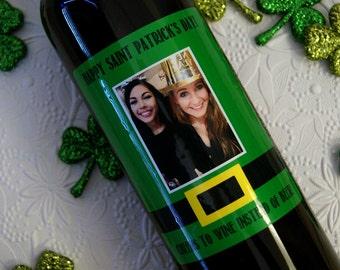 Personalized St. Patrick's Day Label, St. Patrick's Day Wine Label, St. Patrick's Day Gift, Custom Wine Label, Personalized Wine Label
