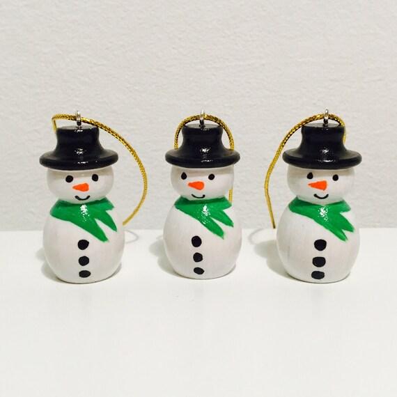Decorate Christmas Tree Like Snowman: Snowmen Christmas Tree Decorations Set Of Three Wooden Peg