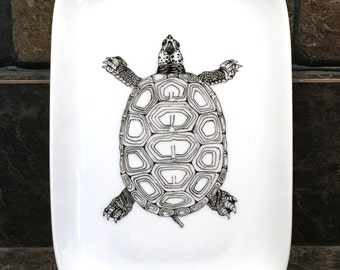 """Terrapin Turtle, contemporary B&W, china painting, porcelain painting on 7""""x4.5"""" porcelain coupe plate"""