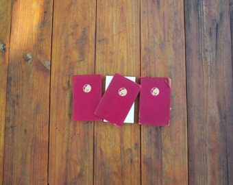 Soft red leather set of vintage books Rudyard Kipling's Kim, Stalky & Co, The Naulahka, first Pocket editions, bookbinder fixed middle cover