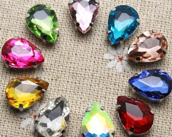 50pcs 10*14mm Crystal Colorful Waterdrop Sew On Rhinestone With Claw