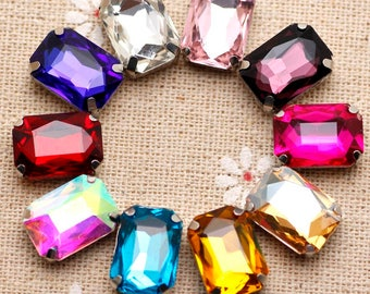 50pcs 10*14mm Crystal Mix Color Rectangle Sew On Rhinestone With Claw  mix color