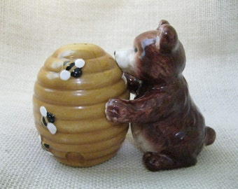 Bear and Beehive Salt and Pepper Shaker Set