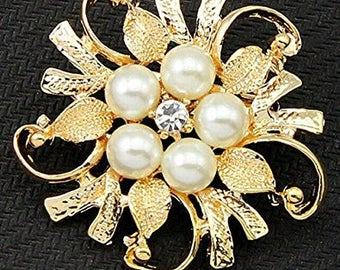 Ladies Pearled Gold  brooch for Turbans Head Wraps, Scarfs, hats, Shawls and Blazers.