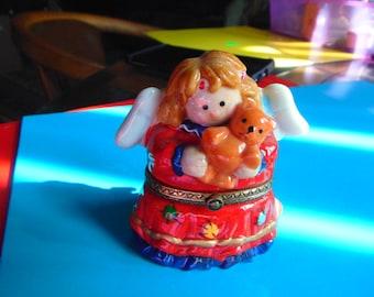 Christmas Angel carring teddy bear trinket box