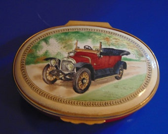 HALCYON DAYS 1912 British Sunbeam Tourer trinket box