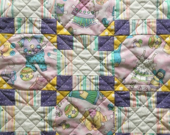 Paper Doll Baby or Lap Quilt in Pastels Free Shipping