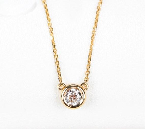 dainty diamond necklace solitaire diamond necklace 18k solid. Black Bedroom Furniture Sets. Home Design Ideas