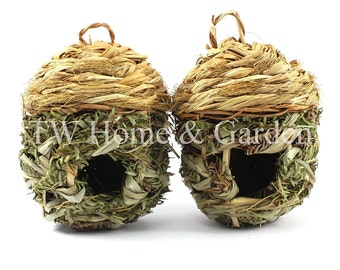 Set of 2 birds nesting box straw birds habitats