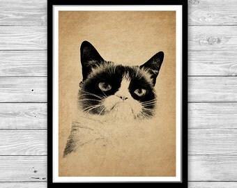 Grumpy cat print Animal art poster Cabin decor, Cat office decor, Funny cat printable art, Antique decoration Grumpy cat poster DIA31