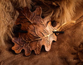 """LEATHER LEAF HAIRPIN barrette - """"Misty Leaves"""" with leather or felted acorn"""