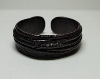 Genuine leather adjustable bracelet cuff. Dark Brown leather bracelet, statement bracelet. Bohemianl leather bracelet. Hippie bracelet cuff.