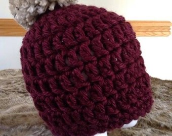 Burgundy Crochet Hat