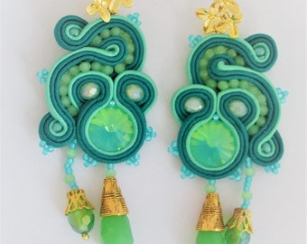 soutache earrings opal green