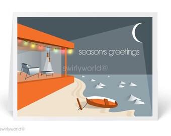 Mid-Century Modern Christmas Cards, Printed Retro MCM Holiday Cards, Retro Mod Christmas Cards, MCM Christmas - 36863
