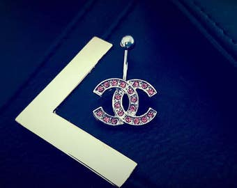 14G Designer Inspired Pink Crystal Belly Button Ring