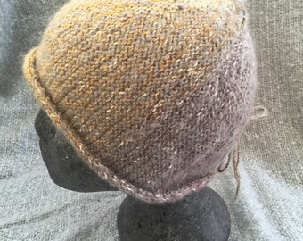 Cotton/mohair mix hand knitted beanie.