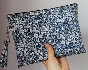 Liberty of London Cotton Silk Tassel Clutch/Pouch/Purse with card pocket inside