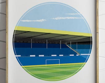 Leeds United, Elland Road Illustrated Print, Football Art, Soccer Art, Football Gifts, Football Posters, Boyfriend Gift, Gifts for Him,