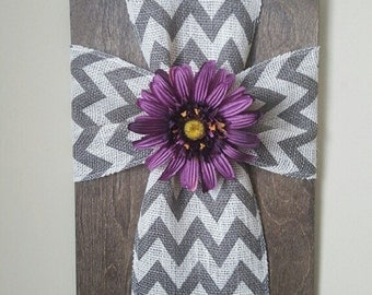 Earth Tone Cross Wooden Plaque, Cross Wall Decor, Christian Wall Art, Purple Floral Art, Gift for Mom,or Friend, Rustic Wall Decor