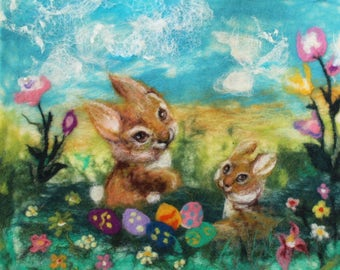 Easter felt picture/ wool painting/ bunny/ kids art /ready to hang/READY TO SHIP