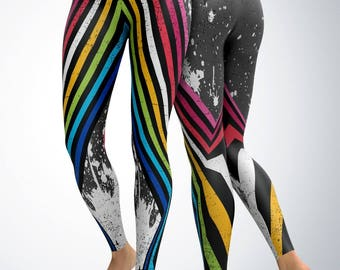 Leggings / Yoga Pants / Yoga Capri - Retro Stripes w/ Paint splatter Leggings