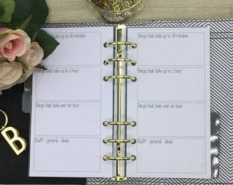 Personal Planner Insert - Brain Dump, Stuff, To Do. Will fit kikki-k and Filofax planners