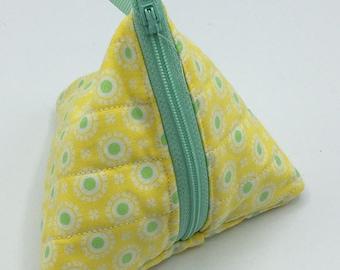 Triangle zipper pouch, coin purse, unique gift. Yellow Pattern