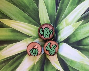 Three small magnets cactus hand painted