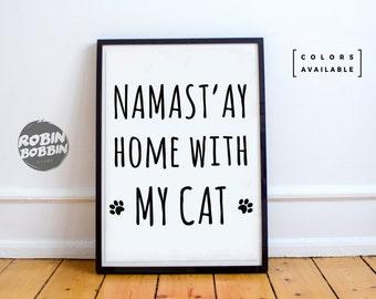Namaste'y Home With Mug Cat - Wall Decor - Minimal Art - Home Decor