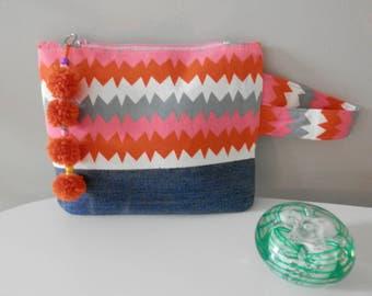 Cosmetic Bag, Pink & Orange Zig Zag and Denim, Purse, Pouch, Wristlet, Pom Poms