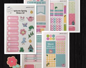 Erin Condren Vertical Welcome Spring Happy Planner Sticker Kit