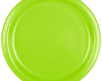 """25 (7"""")  Lime Green Round Paper Plate, Wedding Supplies, Wedding, Wedding Decor, Plastic Plates, Party Supplies, Paper Plates, Wedding"""