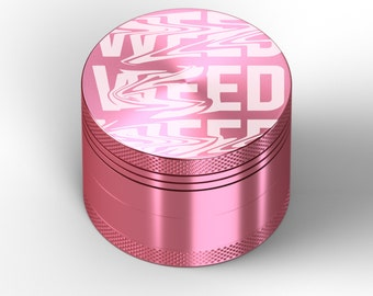 Grinder Pink WEED WEED WEED Customized Grinder Laser Engraved 4 Pieces Birthday Gift High Quality