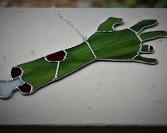 Zombie Severed Arm Stained Glass Sun Catcher