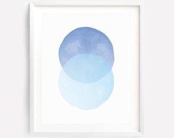 Watercolor Printable Art, Circle Print, Blue Circle Art, Blue Geometric Art Print, Boy Nursery Art, Blue Watercolor Art, Nursery Wall Art
