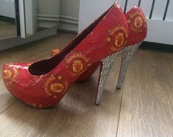 manchester united heels rhinestoned made to order