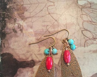 Antique copper and turquoise earrings