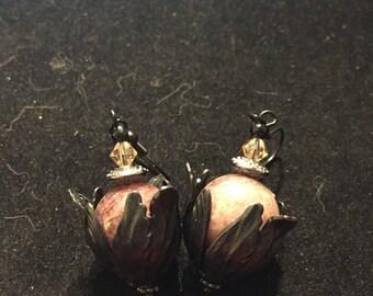 Gemstone earrings , muscovite black onyx , Swarovski crystals