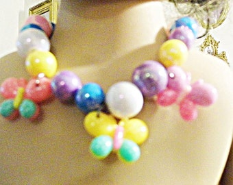 "Colorful and bright handmade beaded butterfly necklace and hairclip jewelry for 15-20"" dolls"