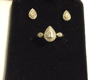 Vintage Art Deco Engagement ring with matching earrings. Pear Shaped Sterling Silver ring with Diamonds and matching Diamond Earrings