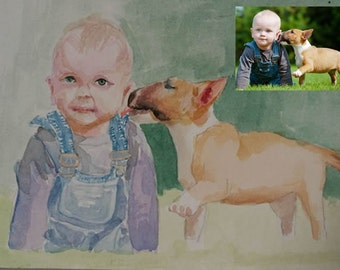 Custom Portrait, Painting From Photo, Watercolor, Custom painting, Custom Art, Custom Watercolor